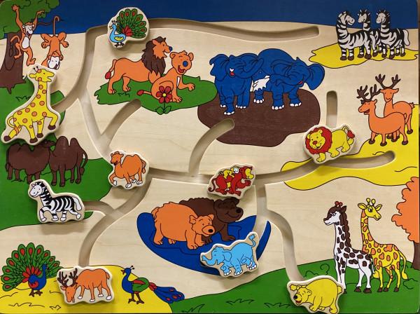 Puzzle, Schiebepuzzle Tiere, aus Holz