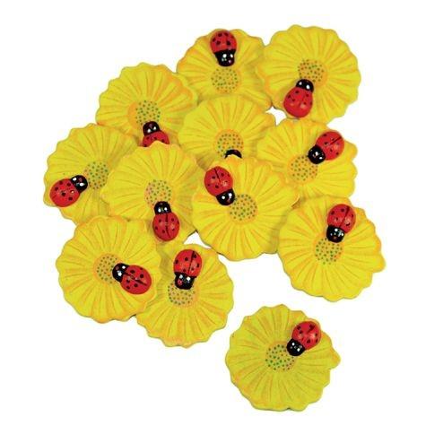 Holzdeko-Teile Blume mit Marienkäfer