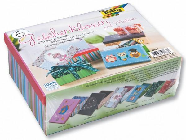 Geschenkboxen mit Motiven, 6er-Set