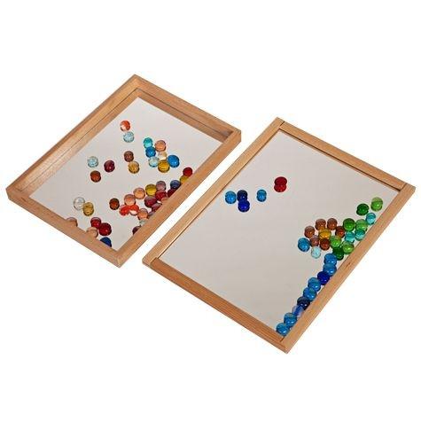 Spiegeltablett,26,5x26,5cm,Holz/Plexigl.