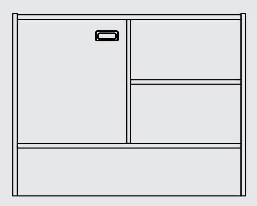 Sockelnischenschrank Tür links,