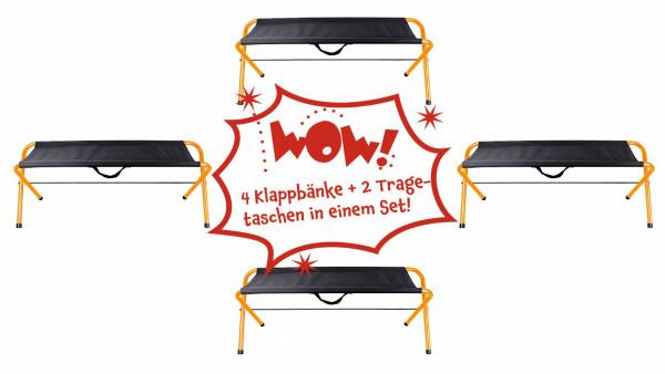 Klappbänke mit Tragetaschen, 4er Set Sitzbank