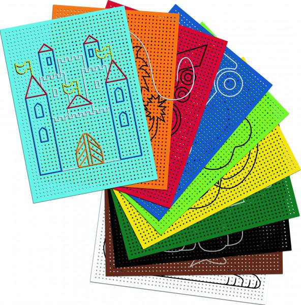 Stickkarton farbig 40 Blatt, mit Motiven bedruckt