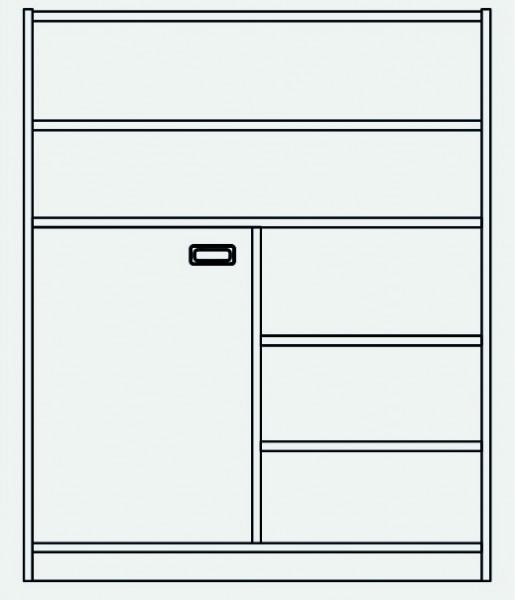 Hochschrank Tür unten links,Regal rechts und oben