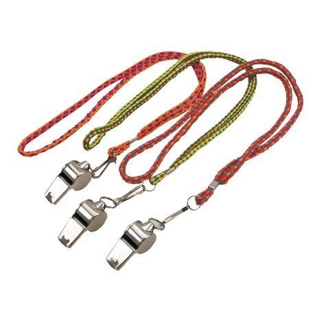 Trillerpfeife Metall mit Kordel