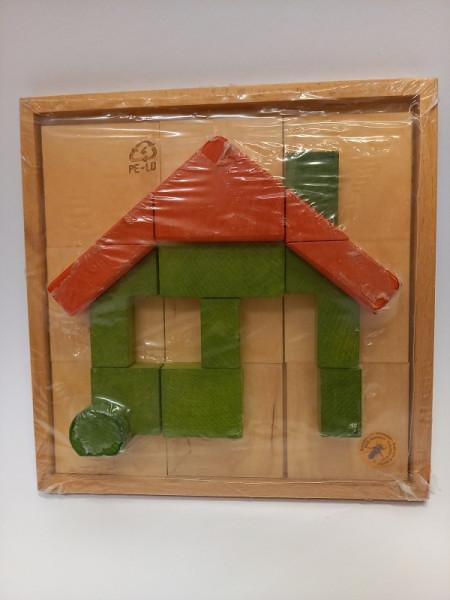 Reliefpuzzle Haus aus Holz
