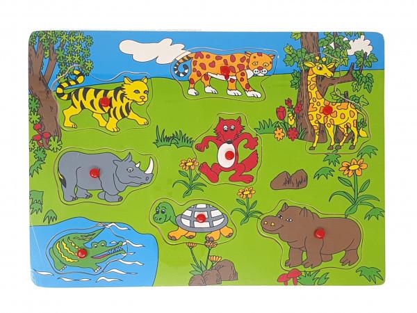 Puzzle, Holzsteckpuzzle Wildtiere