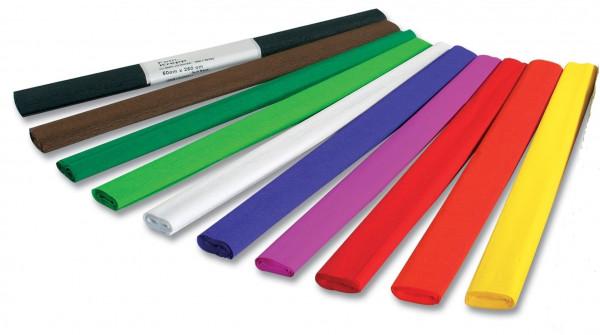 Krepppapier, 50 cm x 2,5 m,10 Farben sortiert