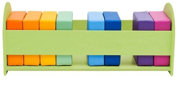 Regenbogen-Softsitze im Holzgestell, 10 Stück