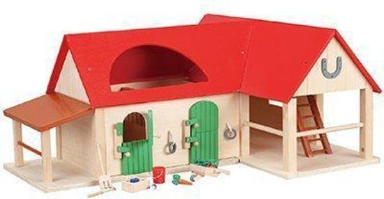 Pferdestall, Holz 15-teiliges Set