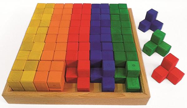 Winkelwürfel, 50 Teile im Holzrahmen