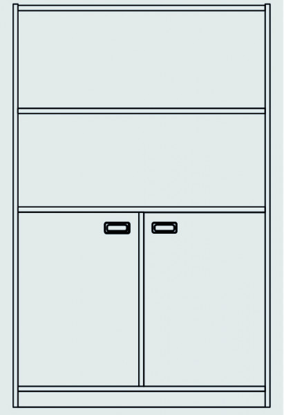 Schrank unten: Doppeltür, mit Mittelwand