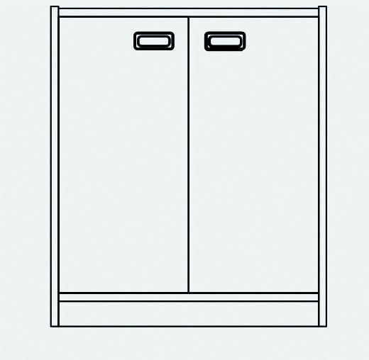 Korpusschrank 2 Türen B/H/T 69x80x40 cm