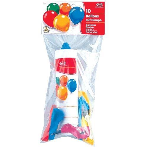 10 sortierte Ballons und Pumpe