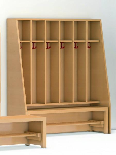 Garderobenspind, Ablage oben/unten, Dreifachhaken