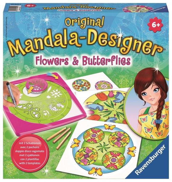 Mandala-Designer Flowers & Butterflies