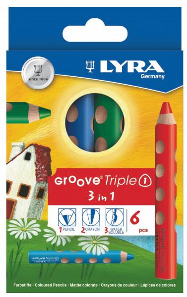 Lyra Groove Triple I, 6 Buntstifte sortiert