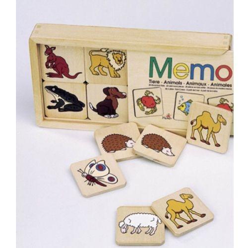 Memo-Tiere im Holzkasten