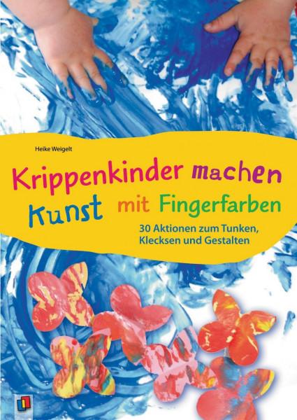 Krippenkinder machen Kunst - mit Fingerfarben