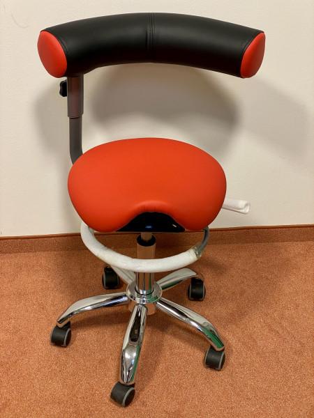 Sanus 2. Wahl Sattelsitz mit Lehne Kunstleder rot, Sitzhöhe ca. 51-64 cm