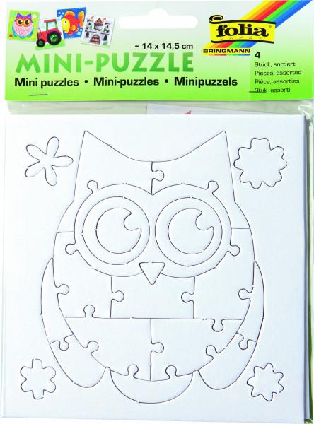 Mini-Puzzle zum Bemalen, 4 Motive