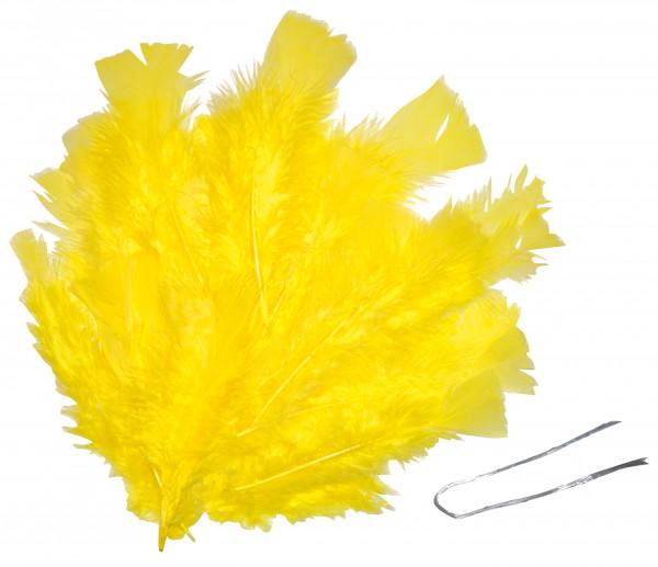 Osterfedern mit Draht, gelb