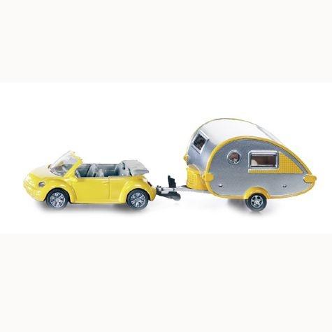 VW Beetle mit Wohnwagen