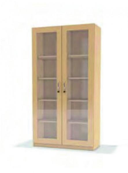 Hochschrank Doppeltür m. Glasausschnitt, 8 Böden